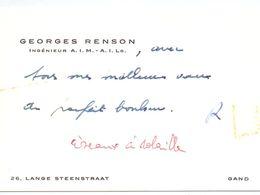 Visitekaartje - Carte De Visite - Ingénieur Georges Renson - Gand Gent - Cartes De Visite
