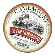 ETIQUETTE De FROMAGE Cartonnée..CAMEMBERT Fabriqué En NORMANDIE..Le Fin Normand..Laiterie De St HILAIRE De BRIOUZE (61) - Quesos