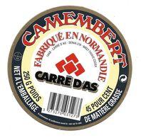 ETIQUETTE De FROMAGE Cartonnée..CAMEMBERT Fabriqué En NORMANDIE (Calvados 14-AB)..CARRE D'AS - Cheese
