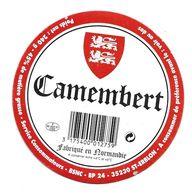 ETIQUETTE De FROMAGE Cartonnée..CAMEMBERT Fabriqué En NORMANDIE (Manche 50)..BSNC à ST ERBLON ( 35) - Quesos