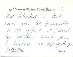 Visitekaartje - Carte De Visite - Docteur & Madame Michel Bocquet - Renaix - Cartes De Visite