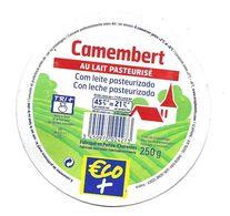 ETIQUETTE De FROMAGE Cartonnée..CAMEMBERT Fabriqué En POITOU CHARENTES ( Vienne 86)..ECO + - Quesos