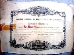 SAUVETAGE EN MER ILE TUDY SOCIETE DE SAUVETAGE DES NAUFRAGES DIPLOME D'HONNEUR 1910 MATELOT LE BRUN SECOURS MARINS - Autres