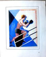 BOXE 2 GRAVURES ANCIENNES SUR LE NOBLE ART UNE LITHOGRAPHIE COLOREE DE HALOULF ANNEES 1930 18 X 14 Cm - Boxe