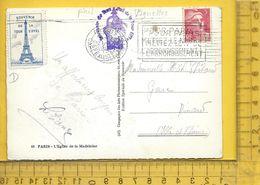 VIGNETTE : Sur Carte Postale, Souvenir De La Tour EIffel - Commemorative Labels