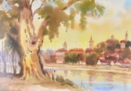 Osváth Miklós (1935-2004): Folyóparti Séta (Dunánál?). Akvarell, Papír, Jelzett és Datált (Osváth Miklós 89), üvegezett  - Non Classés