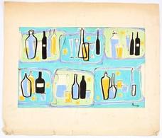 Parrag Jelzéssel: Csendélet. Akvarell, Papír, Paszpartura Ragasztva. 32,5×49 Cm - Non Classés