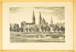 Paulovits Pál (1892-1975): Szeged Tisza-part. Rézkarc, Papír, Jelzett, üvegezett Keretben, 28×44 Cm - Non Classés