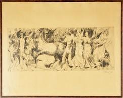 Pituk József Viktórián (1906-1991): Mitológiai Jelenet I. Rézkarc, Papír, Jelzett, üvegezett Keretben, 25×62 Cm - Non Classés