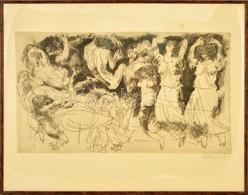 Pituk József Viktórián (1906-1991): Mitológiai Jelenet II. Rézkarc, Papír, Jelzett, üvegezett Keretben, 36×61 Cm - Non Classés