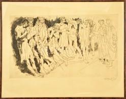 Pituk József Viktórián (1906-1991): Mitológiai Jelenet III. Rézkarc, Papír, Jelzett, üvegezett Keretben, 36×61 Cm - Non Classés