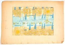 Pleidell Jelzéssel: Vitorlások. Akvarell, Ceruza, Papír, Sérült. Sérült Paszpartura Ragasztva. 33×45 Cm - Non Classés