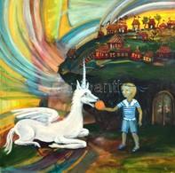 A. Ponyatovskaya '07 Jelzéssel: Mesejelenet Unikornissal. Olaj, Vászon, Hátoldalán Is Jelzett, 60x60 Cm - Non Classés