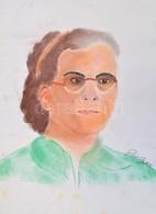 Pór Jelzéssel: Női Portré. Ceruza, Pasztell, Papír, 42x29,5 Cm - Non Classés