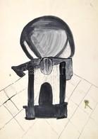Rácz András (1926-2013): Kompozíció. Lavírozott Tus, Akvarell, Papír, Jelzett, 40,5x29,5 Cm - Non Classés