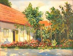 Radnay József (1896-1963): Házudvar Virágos Kerttel. Olaj, Karton, Jelzett, Keretben, 39×50 Cm - Non Classés