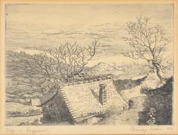Remsey Iván(1921-2006): Ház A Hegyen. Rézkarc, Papír, Jelzett, üvegezett Fa Keretben, 17,5×24 Cm - Non Classés
