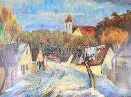 Sági Sándor (1917-2007): Balaton-melléki Falu. Olaj, Vászon. Jelzett. Üvegezett Keretben. 60x80 Cm - Non Classés