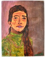Schéner Jelzéssel: Női Portré. Olaj, Karton, 40×30 Cm - Non Classés