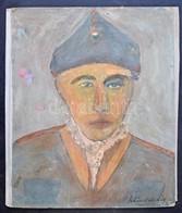 Schéner Jelzéssel: Katona. Olaj, Karton, Kartonra Kasírozva, Sérült, 42×35 Cm - Non Classés
