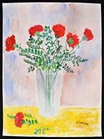 Séday Jelzéssel: Virágcsendélet, Akvarell, Papír, 48×36 Cm - Non Classés
