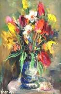 Séday Éva (1929-2011): Virágcsendélet. Olaj, Farost, Jelzett, Fa Keretben, 30×20 Cm - Non Classés