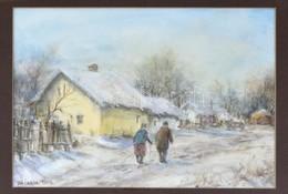 Siska 1995 Jelzéssel: Téli Séta. Akvarell, Papír, Jelzett. Fa Keretben, 23×33 Cm - Non Classés