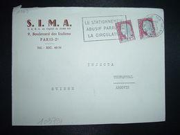 LETTRE Pour La SUISSE TP MARIANNE DE DECARIS 0,25 OBL.MEC.31-1 1962 PARIS 108 + S.I.M.A. - 1960 Maríanne De Decaris