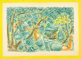 Olvashatatlan Jelzéssel: Robin Hood. Vegyes Technika, Papír, Kis Szakadással, 36×54 Cm - Non Classés