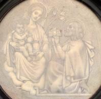 Jelzés Nélkül: Szent István és Jézus. Ceruza, Papír. Üvegezett, Repedezett Fa Keretben, D: 13,5 Cm - Non Classés