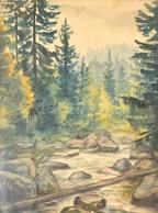 Jelzés Nélkül: Erdei Táj Patakkal. Akvarell, Papír. Sérült, üvegezett Fa Keretben, 40×29,5 Cm - Non Classés