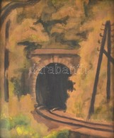 Jelzés Nélkül: Vasúti Alagút. Akvarell, Karton, üvegezett, Kissé Sérült Fa Keretben, 25×20,5 Cm - Non Classés