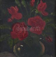 Jelzés Nélkül: Virágcsendélet. Olaj, Karton, Kisebb Felületi Sérüléssel, Díszes Fa Keretben, 11×11 Cm - Non Classés