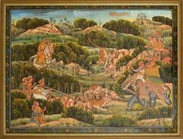 Jelzés Nélkül: Tigrisvadászat, Festett Selyemkép, üvegezett Fa Keretben, 49×67,5 Cm - Non Classés