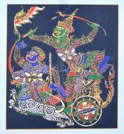 Jelzetlen: Thaiföldi Sárkányölő Harcosok. Selyemfestés, üvegezett Fa Keretben, 29,5x25,5 Cm - Non Classés