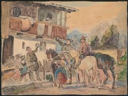 Jelzés Nélkül: Ünneplő Lovasok. Akvarell, Papír, 18×23,5 Cm - Non Classés
