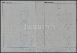 Jelzés Nélkül: Divatrajzok, 10 Db. Tus, Pauszpapír, 31×24 Cm - Non Classés