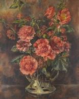 Jelzés Nélkül: Virágcsendélet. Olaj, Vászon, Sérült (lyukas), Hátoldalán Szlovák Nemzeti Galéria Pecséttel, Fa Keretben, - Non Classés