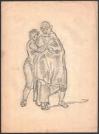 Jelzés Nélkül: Ölelkező Alakok. Ceruza, Papír, Apró Szakadással és Gyűrődésekkel, 37,5x27,5 Cm - Non Classés