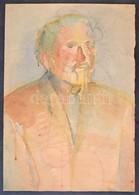 Jelzés Nélkül: Portré (tanulmány), Ceruza, Akvarell, Papír, Lap Alján Szakadással, Jobb Szélén Hiánnyal, 61x43 Cm - Non Classés