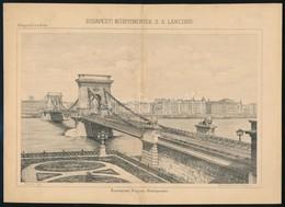 Cca 1880 Lánchidat ábrázoló Litográfia 23x15 Cm - Gravures