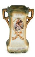 Szecessziós Stílusú Porcelán Váza, Hajszálrepedéssel, Jelzés Nélkül, M: 12,5 Cm - Cerámica Y Alfarerías