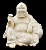 Fehér Mázas Porcelán Buddha, Jelzés Nélkül, Kis Kopásnyomokkal, M: 9 Cm - Cerámica Y Alfarerías