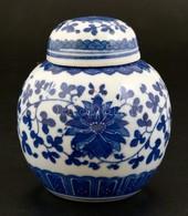 Kínai Kék-fehér Porcelán Gyömbértartó, Jelzett, Levonóképes, Kis Kopásnyomokkal, M: 9,5 Cm - Cerámica Y Alfarerías