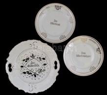 """3 Db Porcelán Tányér: Bavaria Porcelán Tányérok, """"Dem Silberbräutigam"""" és """"Der Silberbraut"""" Feliratokkal, 2 Db, Matricás - Cerámica Y Alfarerías"""