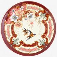 Porcelánfajansz Tál, Florális-madaras Motívummal Díszített, Kézzel Festett, 1890-1910 Körül, Két Számmal (formaszámmal?) - Cerámica Y Alfarerías