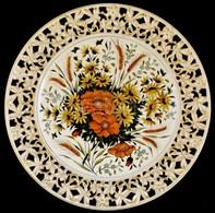Cca 1900 Josef Steidl Znaim áttört Fajansz Dísztál, Bradsch Emil (Aranyosmarót) Dekorációval. Kézzel Festett, Jelzett Hi - Cerámica Y Alfarerías