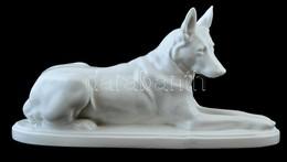 Porcelán Kutya, Fehér Mázas, Jelzett, Gyári Hibákkal, H: 36 Cm - Cerámica Y Alfarerías