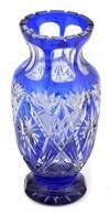 Kék ólomkristály Váza. Hibátlan M: 22 Cm - Vetro & Cristallo