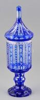 Kétrétegű üvegkupa, Hámozott, Metszett, Karcolásokkal, Apró Csorbákkal, M: 31 Cm - Vidrio & Cristal